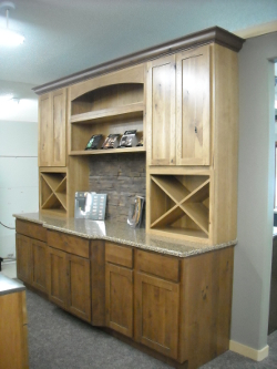 Dura Supreme. Sante Fe Door Style. Base Cabinets Are Knotty Alder. Wall  Cabinets Are Sage On Rustic Hickory