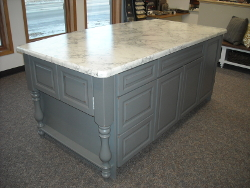 Kraftmaid Cabinetry (Island), Knollwood Square Door Style, Base Cabinets  Are Vintage Grey Loft On Cherry